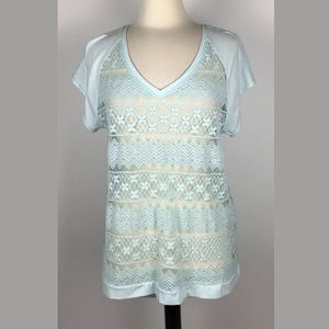 CHICO'S Neutral Lace Top Isla Blue